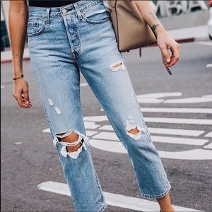 Levi's Wedgie Distressed Ripped Button Fly Light Wash High Waisted Jeans 27